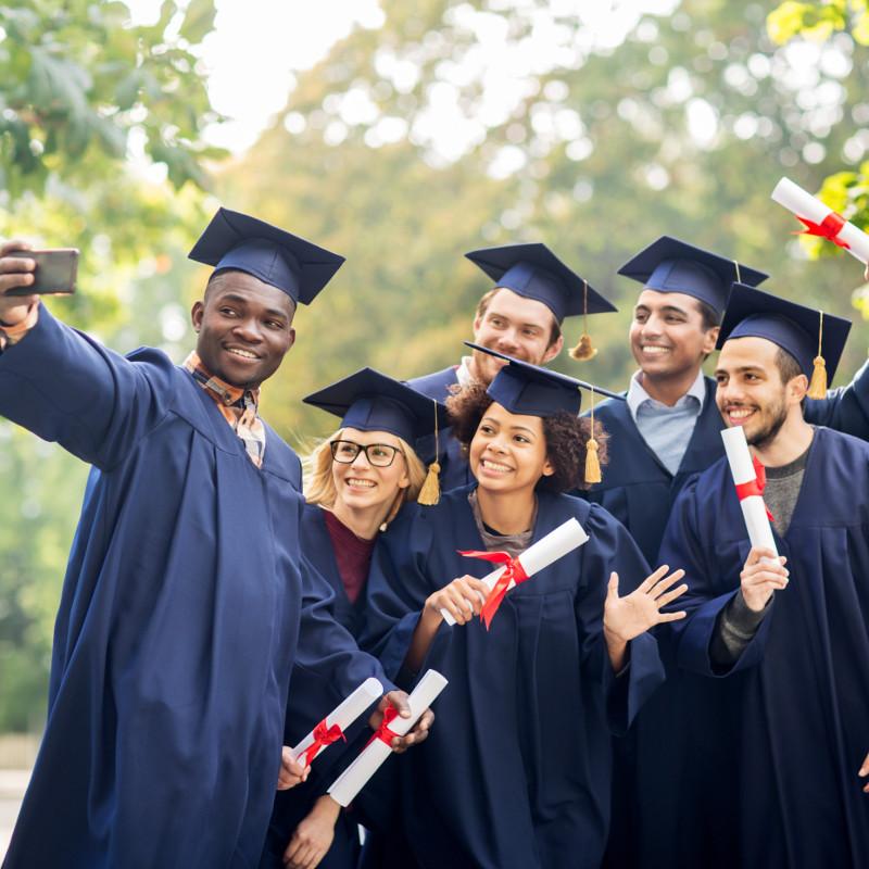 photo of graduates taking a selfie